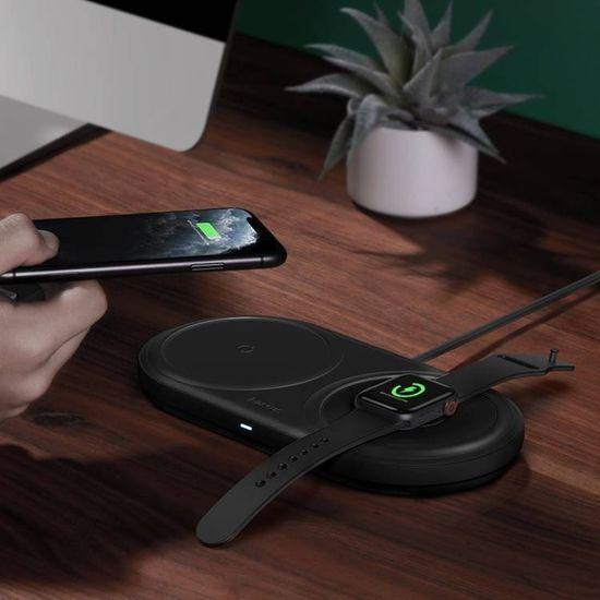 BASEUS Planet 2in1 vezeték nélküli töltő fekete + USB adapter és Type-C 1 m-es kábel WXPL-B01