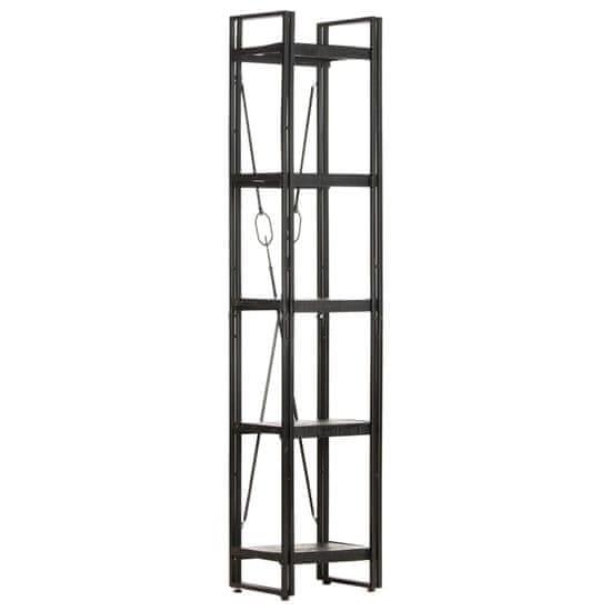 shumee 5 szintes fekete tömör mangófa könyvespolc 40 x 30 x 180 cm