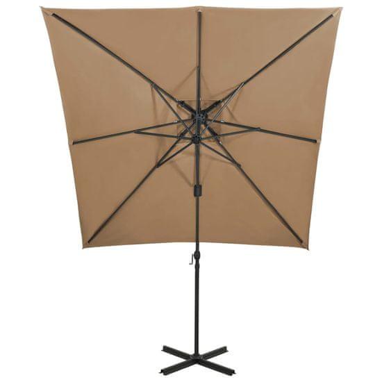 shumee viseči dežnik z dvojno nadstrešnico 250x250 cm Taupe Barva