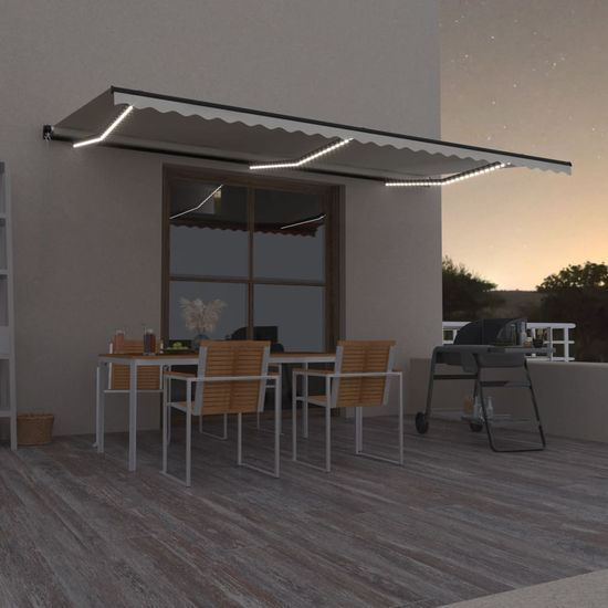 shumee Ročno zložljiva tenda z LED lučmi 600x350 cm krem