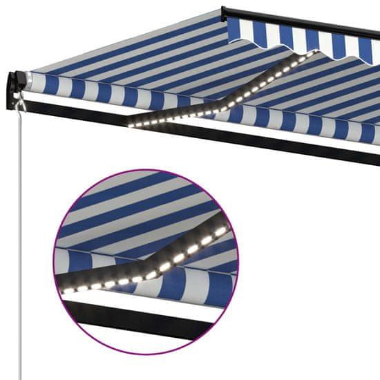 shumee Ręcznie zwijana markiza z LED, 400 x 350 cm, niebiesko-biała