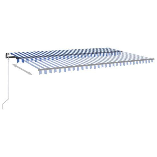 shumee Automatická markíza s LED a senzorom vetra 500x350 cm modrá a biela