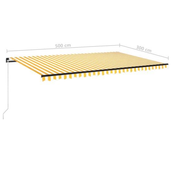shumee sárga és fehér kézzel kihúzható napellenző 500 x 300 cm