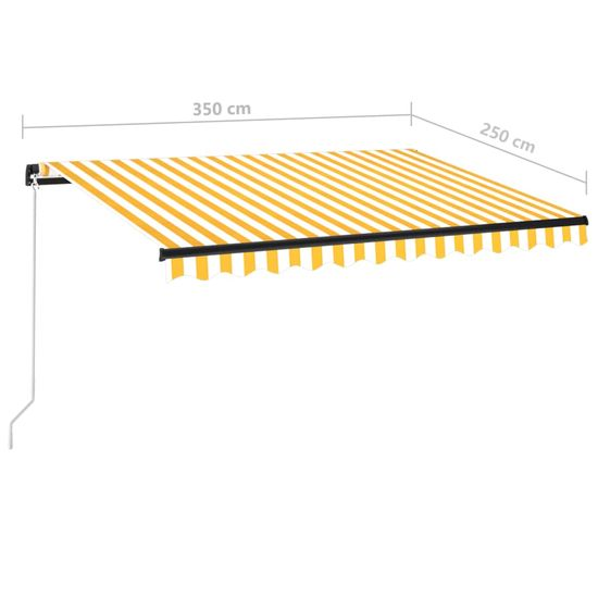 shumee sárga és fehér kézzel kihúzható napellenző 350 x 250 cm