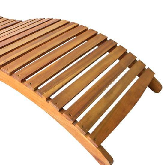 shumee Záhradné lehátko s vankúšom z masívneho agátového dreva