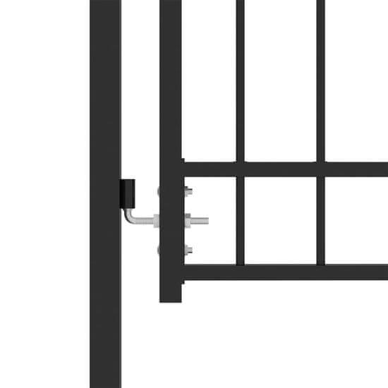 shumee Plotová brána s hrotmi, oceľ, 100x100 cm, čierna