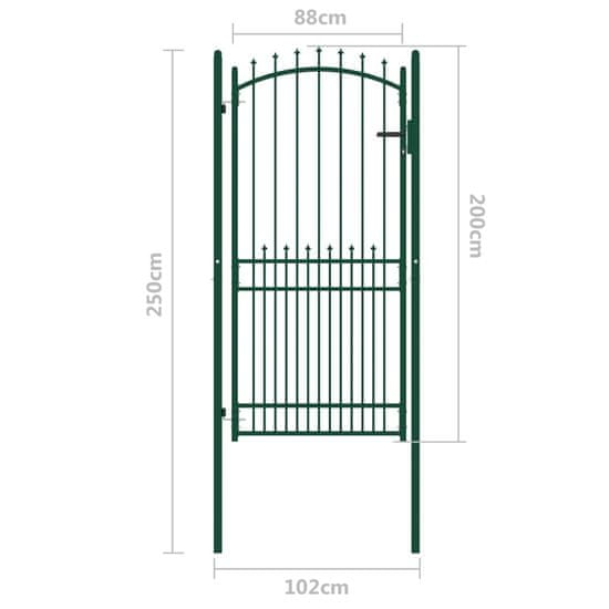 shumee zöld acél kerítéskapu cövekekkel 100 x 200 cm