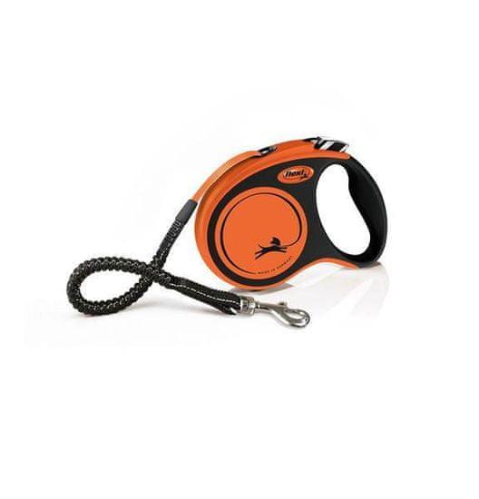 shumee FLEXI XTREME S visszahúzható póráz, 5 m-es szalag, narancssárga - legfeljebb 20 kg súlyú kutyák számára készült