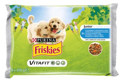 Friskies mokra hrana za mlade pse VitaFit, piščanec in korenje v omaki, 10 x (4x100 g)
