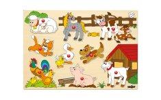 Woody vstavljanka živali, lesena, 9 kosov (šk.91905)