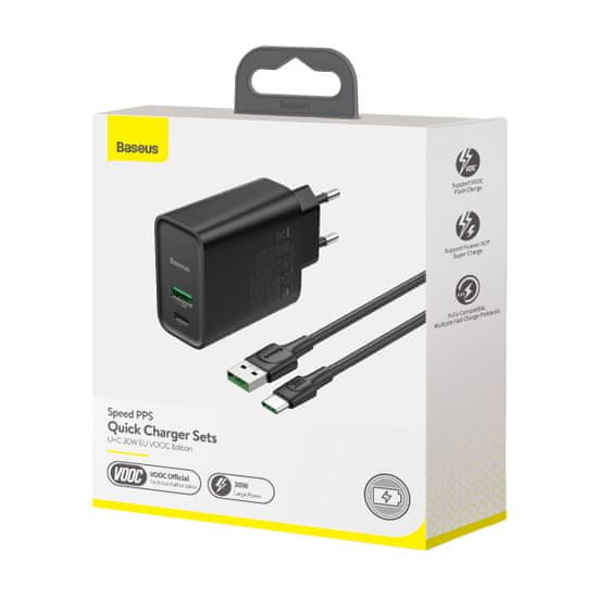 BASEUS Speed PPS duális USB-A QC + USB-C 30W adapterből és USB-A - USB-C 5A kábelből álló készlet 1m TZCCFS-H01, fekete