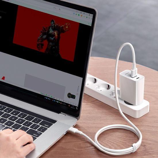 BASEUS Speed PPS duális USB-A QC + USB-C 30W adapterből és USB-A - USB-C 5A kábelből álló készlet 1m TZCCFS-H02, fehér