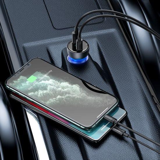 BASEUS Particular Digital Display kettős autós adapter készlet USB-A QC + USB-C, 65W és USB-C - USB-C kábel,100W, 1m TZCCKX-0G, szürke
