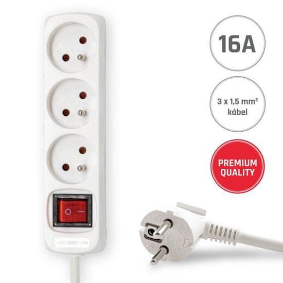 Brennenstuhl 3 zásuvky 3m 3G1,5 Prodlužovací kabel 16A bílý s vypínačem 3M