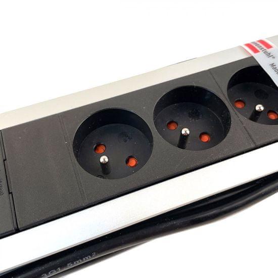 Brennenstuhl Prodlužovací kabel 6-zásuvkový, Premium-Alu-Line s USB nabíječkou 3M