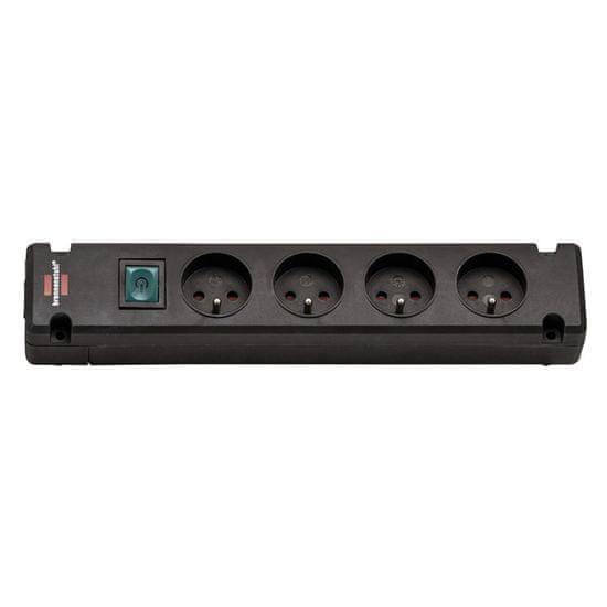 Brennenstuhl Prodlužovačka montovatelná BREMOUNTA 4 zásuvky s vypínačem černá bez kabelu Bez kabelu