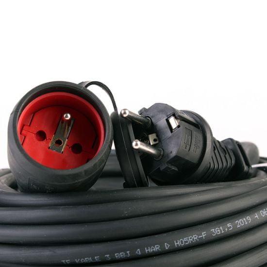 Brennenstuhl Prodlužovací kabel gumový černý 25M