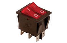 Tracon Electric Kolébkový vypínač ON-OFF, 2 obvody, červený, 16A, 250V, 0-I