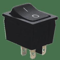 Tracon Electric Kolébkový vypínač ON-OFF, 2-poloh. černý, 16A, 250V, 0-I IP 40 , 6 A