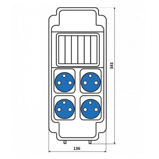 SEZ Zásuvková ROS 5/x-16 rozvodnice nejištěná 179,6x343x163mm