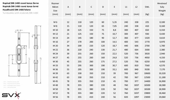 SVX Napínač DIN 1480 rovné konce černé M16