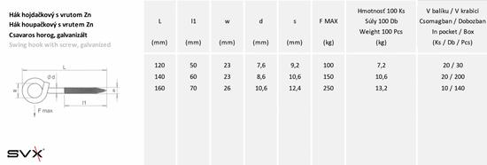 SVX Hák houpačkový s vrutem Zn 7,8x120mm 5 ks