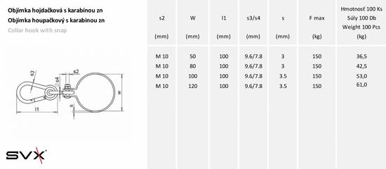 SVX Objímka houpačková s karabinou Zn 50mm
