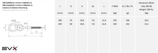 SVX Hák hojdačkový s vrutom a objímkou zn 10,6x250mm