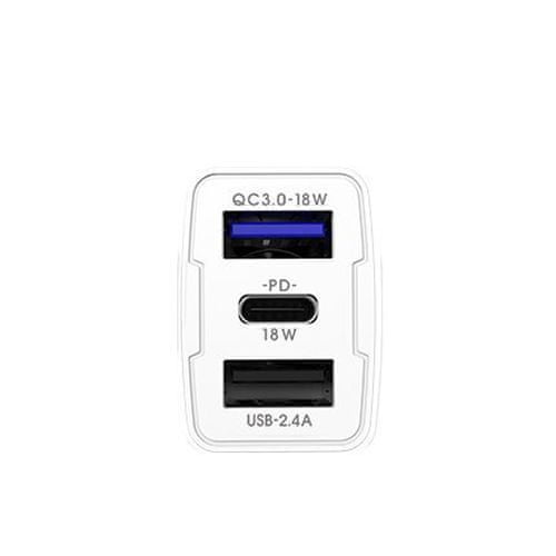 Proda PD-C31 avto polnilec 2x USB / USB-C QC 3.0 PD 18W, bela