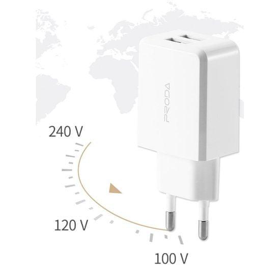 Proda PD-A22 polnilnik 2x USB 2.1A + USB-C kabel 1m, belo