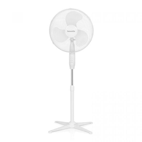 bewello Stoječi ventilator s tremi stopnjami Ø38 cm - bel