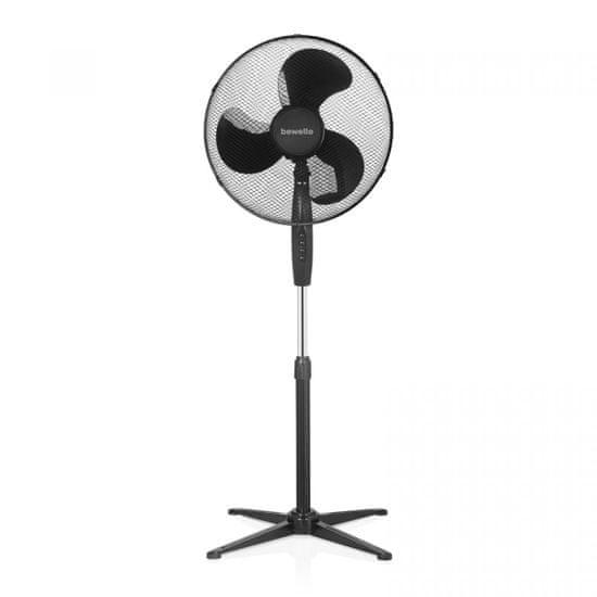 bewello Stoječi ventilator s tremi stopnjami Ø38 cm - črn