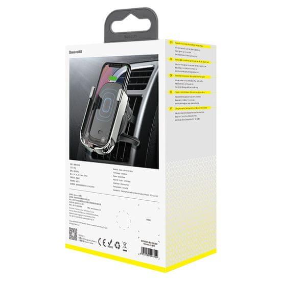 BASEUS Rock-Solid autós tartó és vezeték nélküli töltő 10W (szellőzőnyílásra helyezhető) WXHW01-0S, ezüst