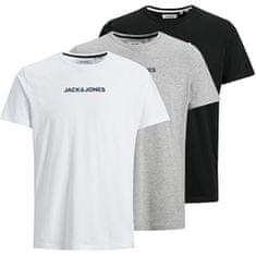 Jack&Jones 3 PAKET - moška majica JACRAIN Regular Fit 12184812 Black White - LGM (Velikost S)