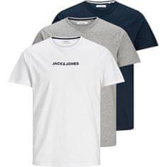 Jack&Jones 3 Pack - moška T-majica JACRAIN Regular Fit 12184812 Light Grey Melange Navy jopič - White (Velikost S)