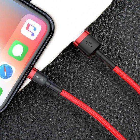 BASEUS USB Lightning 2,4A 3m-es töltő- és adatkábel CALKLF-R09, piros-piros