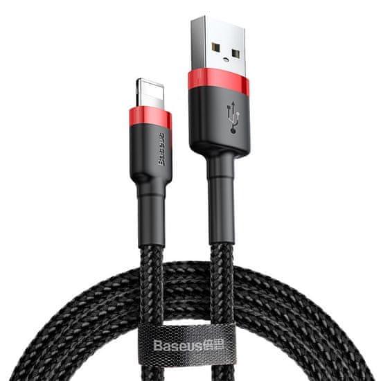 BASEUS USB Lightning 2,4A 3m-es töltő- és adatkábel CALKLF-R91, piros-fekete