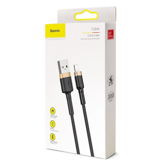 BASEUS USB Lightning 2,4A 3m-es töltő- és adatkábel CALKLF-RV1, arany-fekete