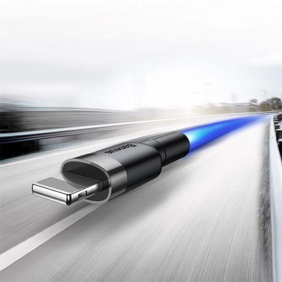 BASEUS USB Lightning 2,4A 3m-es töltő- és adatkábel CALKLF-RG1, szürke-fekete