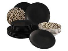 Marex Trade Keramická 18 dílná sada nádobí MADAGASCAR, leopard/černá