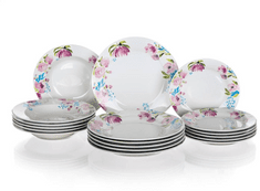 Banquet set krožnikov Pink Flowers, 18 kosov