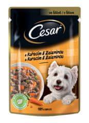 Cesar Kapsička pro dospělé psy s chutným kuřecím a zeleninovým ragů ve šťávě 24x100 g