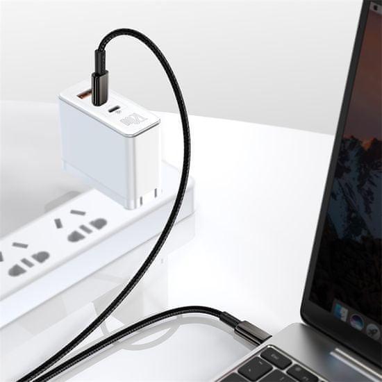 BASEUS Tungsten Gold gyorstöltő- / adatkábel USB-C-ről USB-C-re 100W 2m CATWJ-A01, fekete