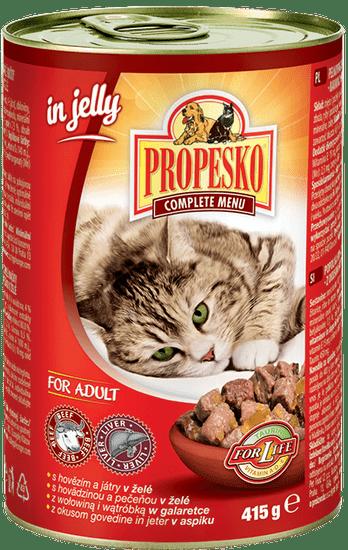 Propesko Karma dla kota wołowina, wątróbka w galarecie 12x415 g