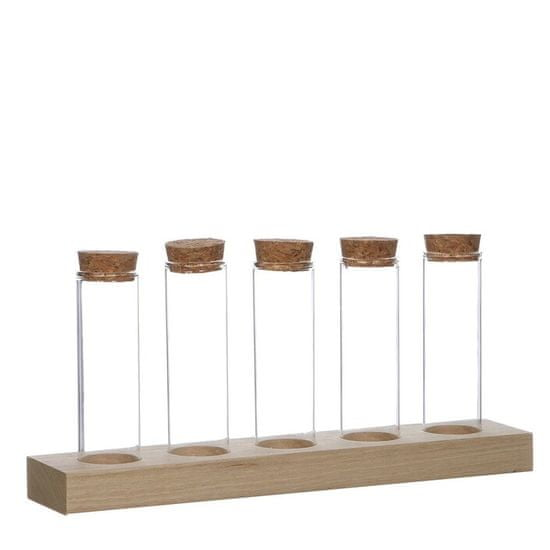 Ideas4Seasons Stojalo - leseno s 5 steklenimi vazami