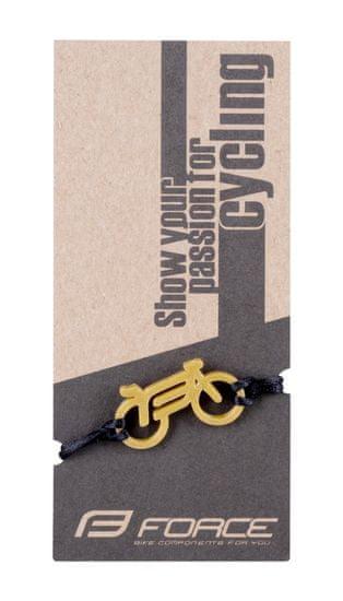 Force Krásný dárek pro milovníky cyklistiky - náramek BIKE - zlato-černý