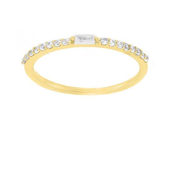 Brilio Silver Nežný pozlátený prsteň so zirkónmi GR006Y striebro 925/1000