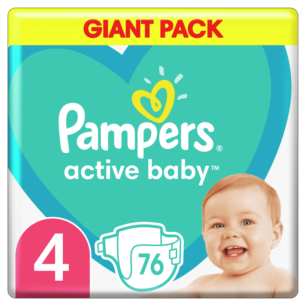 Pampers Pleny Active Baby 4 Maxi (9-14kg) Giant Pack - 76 ks
