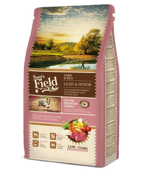 Sams' Field Light hrana za starejše pse vseh pasem, jagnjetina in riž, 2,5 kg