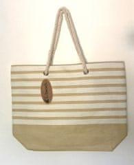 Koopman torba za plažo, 52x38x16 cm, bele črte, bež